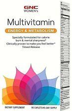 GNC Women's Multivitamin Energy & Metabolism Women 90 Caplets Health Fitness