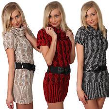 Strickkleid Pulli + Gürtel Meliert Carmen Longpullover Pullover Mini Kleid Neu