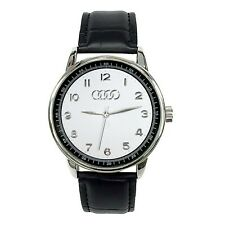 AUDI Mens Stainless Steel WHITE Dial Black Leather Strap Sport Watch
