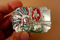 Gürtelschnalle Schließe Chief Sitting Bull Indianer 8 x 5,5cm silber Metall