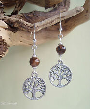 Tree of Life Brown Bead Dangly Earrings in Gift Bag - Celtic Wiccan Pagan
