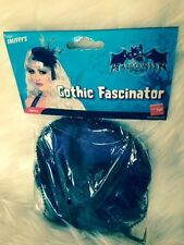 LADIES BLACK AND PURPLE GOTHIC HAIR FASCINATOR WITH FLOWERS AND FEATHERS