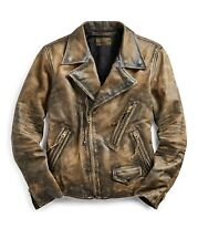 RRL Ralph Lauren Leather Moto Motorcycle Distressed Leather Jacket Men's Small S