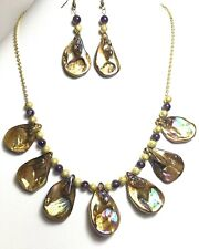Mother-of-pearl, natural amethyst beads, gold-plated Necklace & Earrings set MOP
