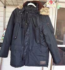 Rocawear Classic Boroughs Of Honor Puffer Coat Jacket Fur Hood Men 2XL NEW BLACK