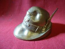 Monte Grappa Bronze Tyrolean Hat with Feather Paperweight