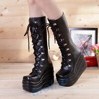 Gothic Women's Knee High Boots Lace Up Platform Punk Creeper Casual Cosplay Shoe