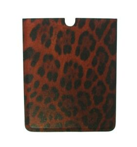 Neuf Dolce & Gabbana Tablette Ebook Housse Cuir Orange Motif Léopard