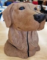 Vintage Aus-Ben Studios Golden Retriever Yellow Lab Labrador Dog Head Bookends