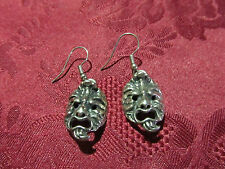 Pierced Silvertone Mask Earring Pair Wires