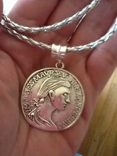 Silver Roman Greek Coin replica Pendant With Silver Rope Necklace-12 Colors Rope