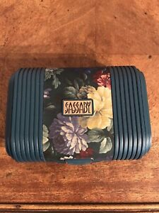 Vintage Sassaby Makeup Cosmetic Case Hard Organizer Mirror Travel Bag Floral