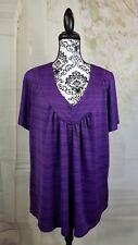 Susan Lawrence womens stretch knit short sleeve geo print top plus size 2x wrbb