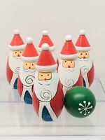 "Vintage Hand Painted Santa Bowling Pins Vintage Christmas "" Elf"" Decoration"