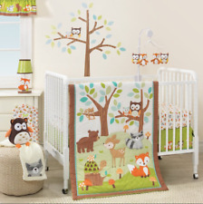 3 Piece Crib Bedding Set Jungle Forest Animals Unisex Baby Nursery Blanket Sheet