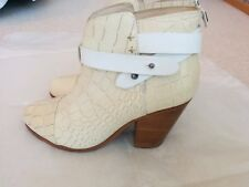 Rag & Bone Harrow boot sz 37 7 cream embossed leather EUC $495