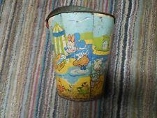 Rare 1900's Antique Tin Sand Bucket WITH DISNEY CHARACTERS
