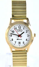 Ravel Ladies Clear Dial Watch Day Date Gold Tone Expander Stretch Metal Strap
