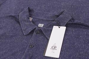 C.P. Company CP NWT Polo Shirt Short Sleeve Sz L Dark Blue & White Fleck Cotton