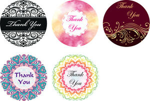 50 Thank You Stickers Assortment Lace Mandala Damask Labels Party Favour GLOSSY