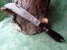 CAN029 Couteau de Marin Manche Bois Ancre Lame Acier Inox Bélière Cran Forcé