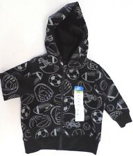 Okie Dokie Baby Boys Hooded Sweatshirt Jacket Sports Print Black/Gray Select Sz