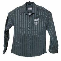 Royal Mondo Black Embroidered Long Sleeve Button Down Up Shirt Mens Sz XL Xlarge