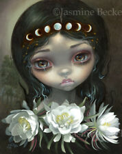 Jasmine Becket-Griffith art print SIGNED Queen of the Night Blooms moon phases