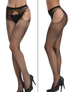 Plus Size Crotchless Pantyhose Fishnet Stocking Tights Nightwear 4 open 6-26