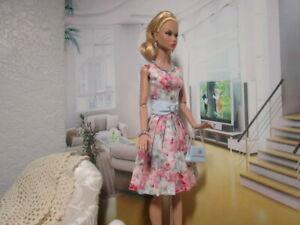 Poppy Parker Nu Face OOAK Handmade Outfit Pleated Dress Handbag Jewelry Belt