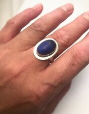 Sterling Silver Large Lapis Lazuli Statement Dress Ring Size R1/2