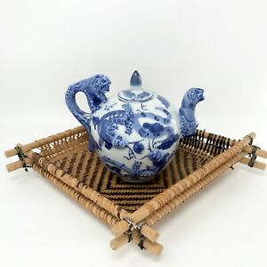 Vintage Chinese Teapot with three-dimensional Dragons Blue and White