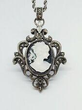 Marcasite Cameo Pendant Original Chain Vintage Judith Jack 925 Sterling Silver