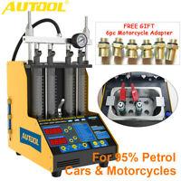 4 Cylinders Ultrasonic Fuel Injector Cleaner Flow Leak Tester +6pc Motor Adapter