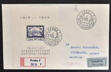Czechoslovakia to Switzerland 1948 Stamp Memo Sheet on Reg Flight Airmail Cover
