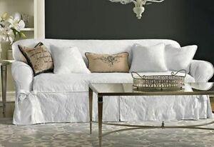 Sure Fit Matelasse Damask box Cushion sofa size slipcover White washable