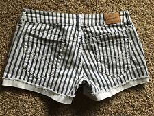 "AEROPOSTALE Casual STRIPED MINI SHORT SHORTS LOW Rise Stretch sz 00 27"" W"
