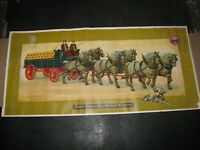 1904 PABST BLUE RIBBON HORSES & BEER WAGON POSTER antique WILBUR'S STOCK FEED