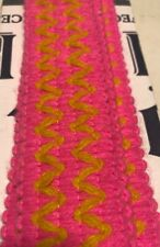 Vtg 60s 70's Yellow Pink Knit Sewing Border Trim Retro Ribbon 3 Yards Chevron