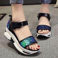 Fashion Womens Sequin Platform Sandals Girl Summer Shoes Soft Gladiator Wedges