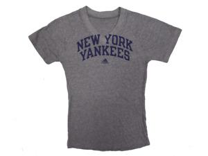 Adidas New York Yankees MLB Women's Grey V-Neck T-Shirt