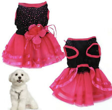 DOG PUPPY PET PARTY CHRISTMAS DRESS PINK BLACK FLOWER FRILL TUTU SKIRT COSTUME