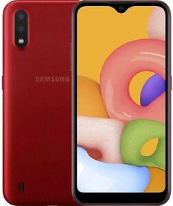 Samsung Galaxy A01 SMA013/DS 16GB Red International Dual SIM +64gb Mem & Case