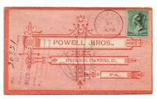 1889 Illustrated Cover Powell Bros Springboro PA UNUSUAL IRON CROSS FANCY CANCEL