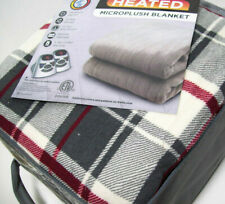 Biddeford Electric Warming Micro Plush Gray Plaid Queen Blanket 2 Controls New