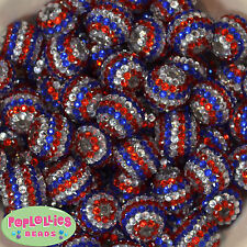 20mm Red Silver Royal Blue Stripe Rhinestone Bubblegum Beads 20pc  Patriotic