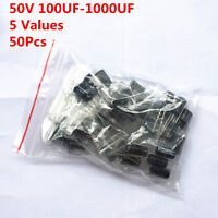 50pcs  50V 100 220 330 470 1000 UF electrolytic capacitor assorted kit Radial