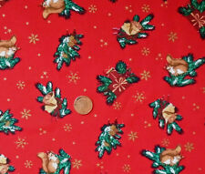 RED WITH SQUIRRELS, BELLS AND XMAS PRESENTS - COTTON FABRIC LARGE FQ