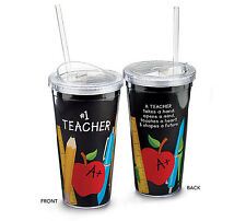 Insulated Tumbler Cup #1 Teacher 20 oz Clear Lid and Straw School Gift Decor