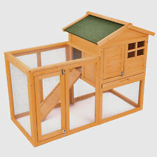 Wooden Rabbit Bunny Hutch Chicken Coop Small Animal Cage With Tray